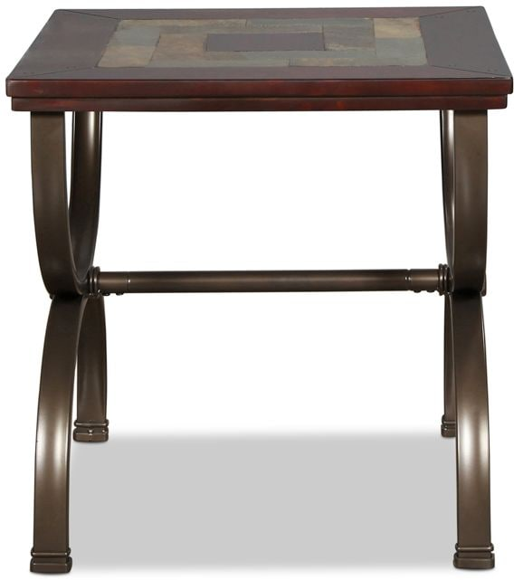 Accent and Occasional Furniture - Caden End Table - Slate and Medium Brown