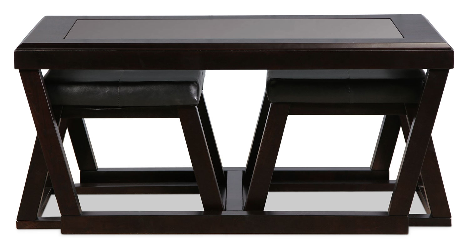 Accent and Occasional Furniture - Hermosa Coffee Table with Ottomans - Espresso