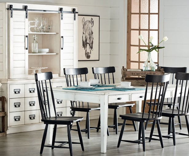 Magnolia home farmhouse dining table levin furniture for Dining room table not centered under light