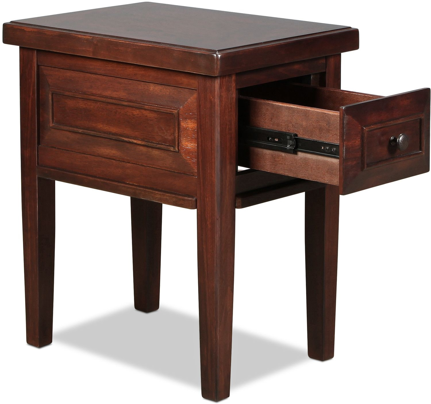 bentworth chairside table rustic brown levin furniture
