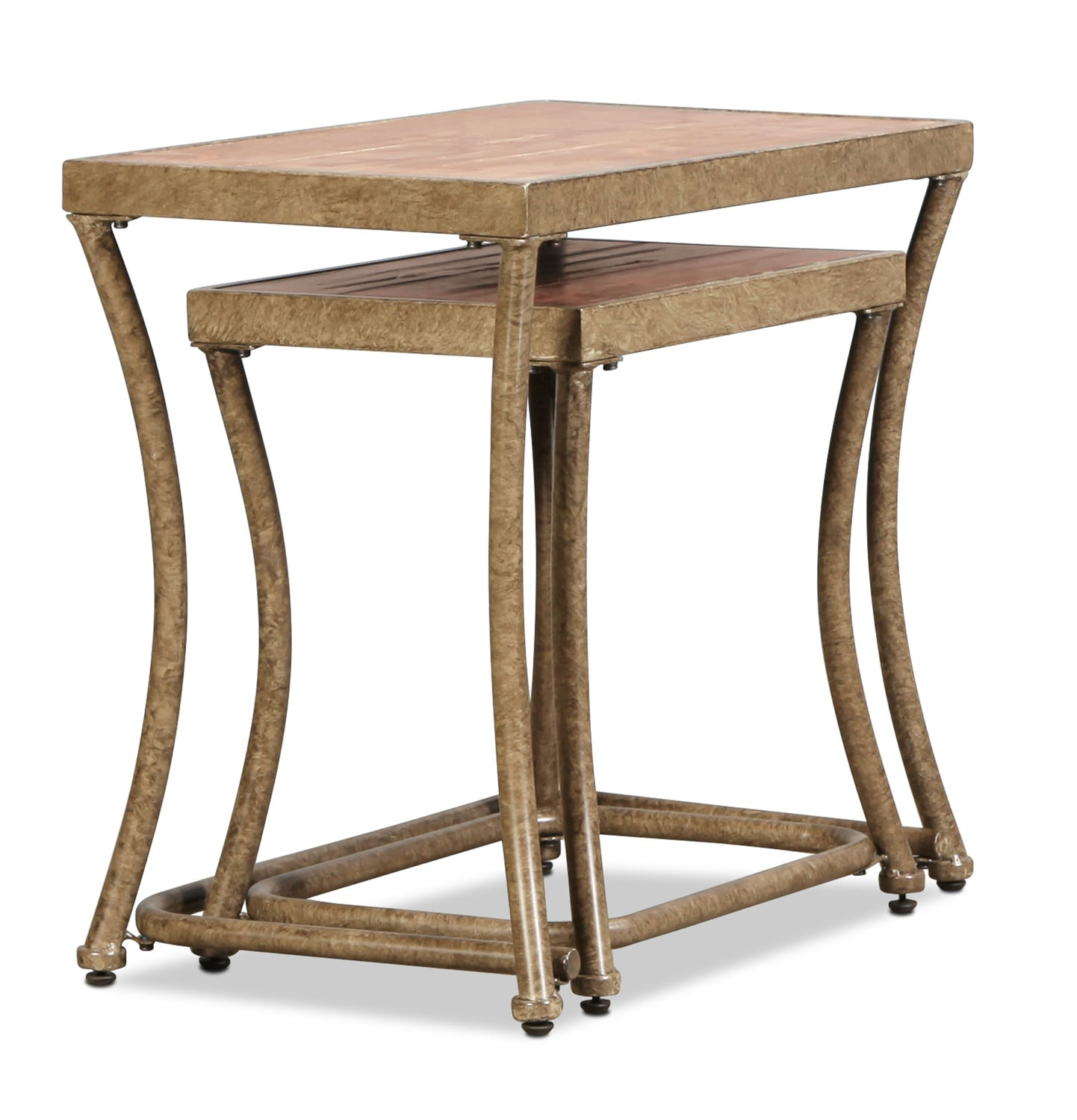 Zamora Nesting Tables Distressed Pine And Bronze Levin