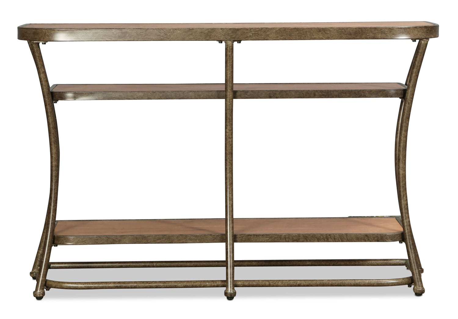 Zamora Sofa Table - Distressed Pine and Bronze