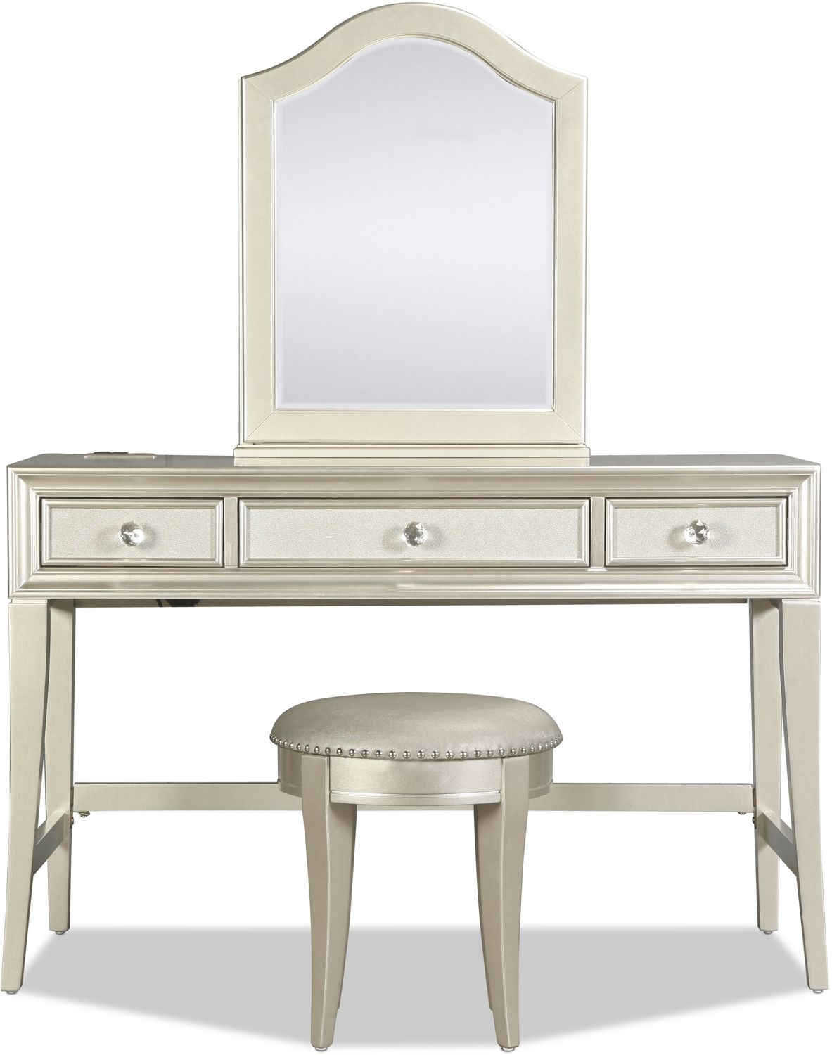 Lil Posh Vanity Mirror Platinum Levin Furniture