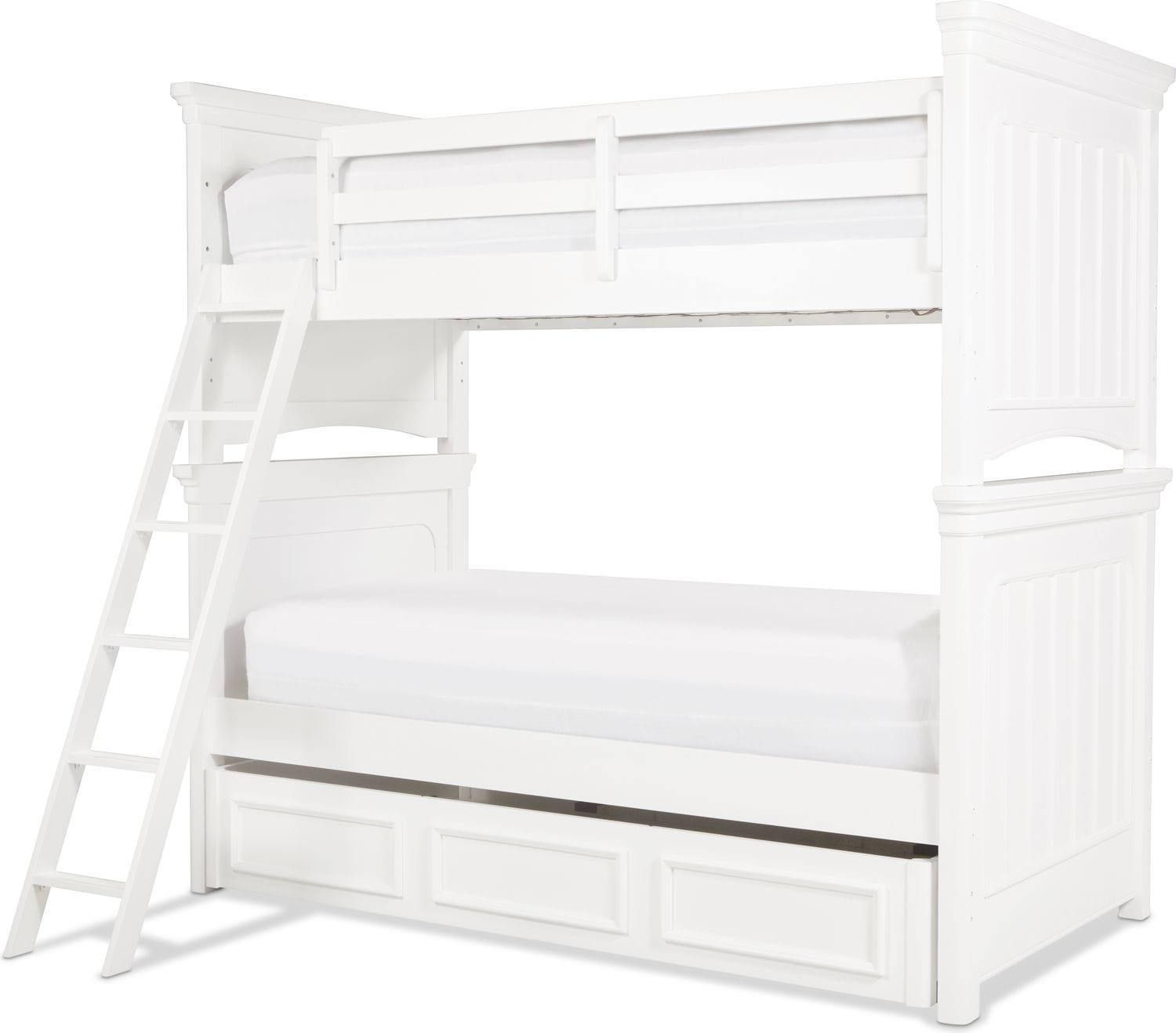 Laney Twin Over Twin Bunk Bed White Levin Furniture