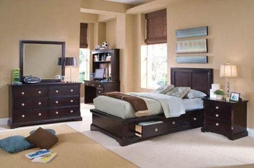 Georgetown 4-Piece Twin Bedroom Set with 6 Underbed Drawers - Dark Merlot