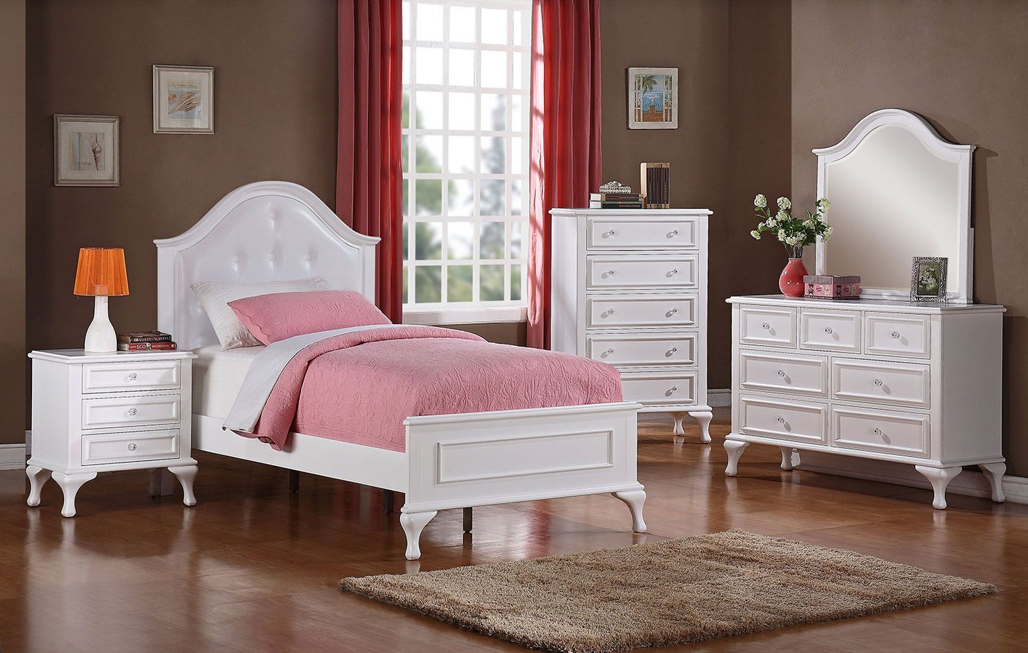 Riva 4-Piece Twin Bedroom Set with Dresser, Mirror and Nightstand - White