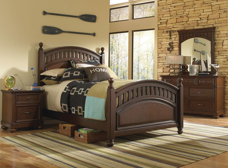 Kids Furniture - Brayden 4-Piece Full Bedroom Set - Cherry