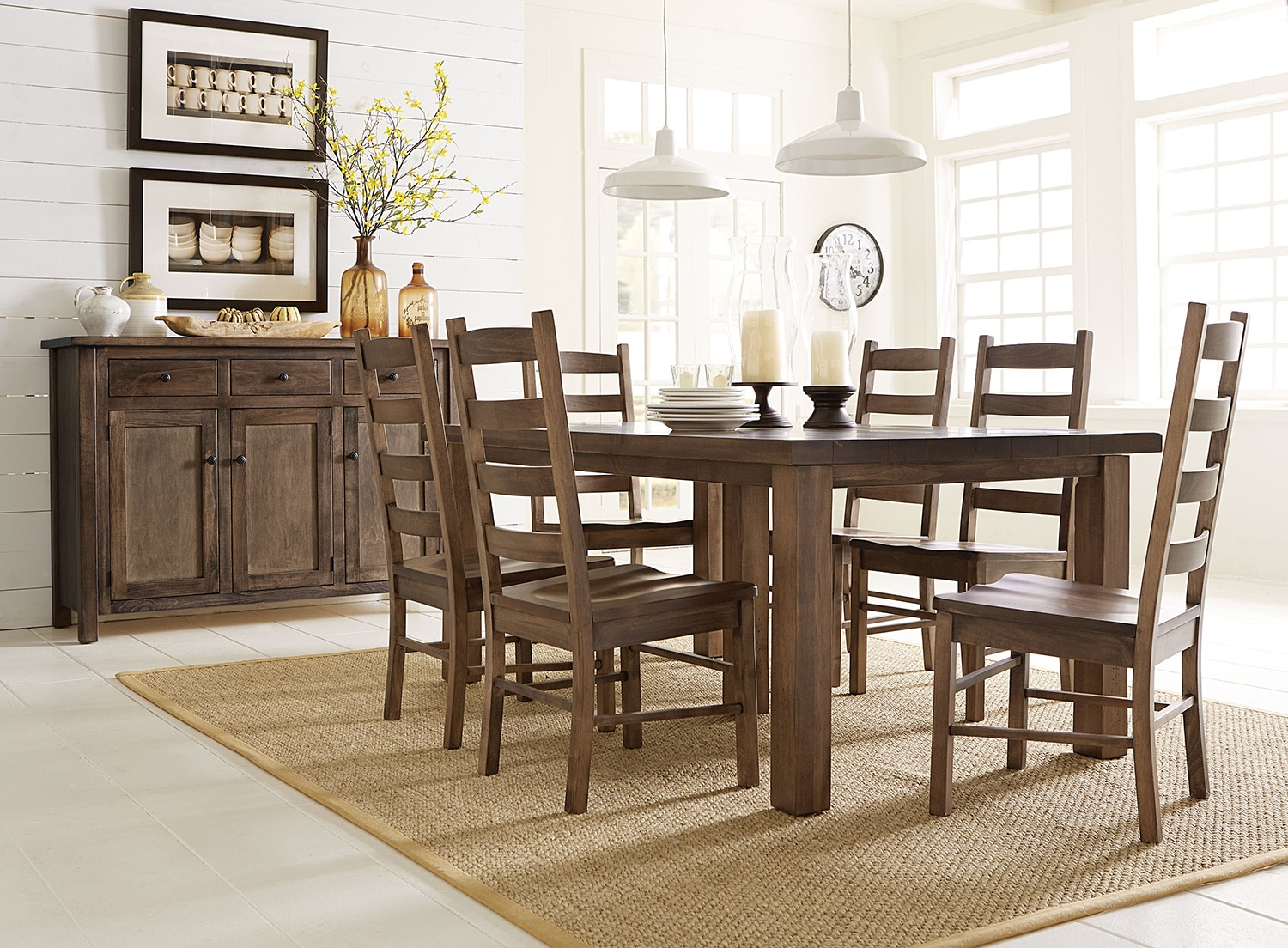 Dining Room Furniture - Westchester Table and 4 Side Chairs - Sandalwood