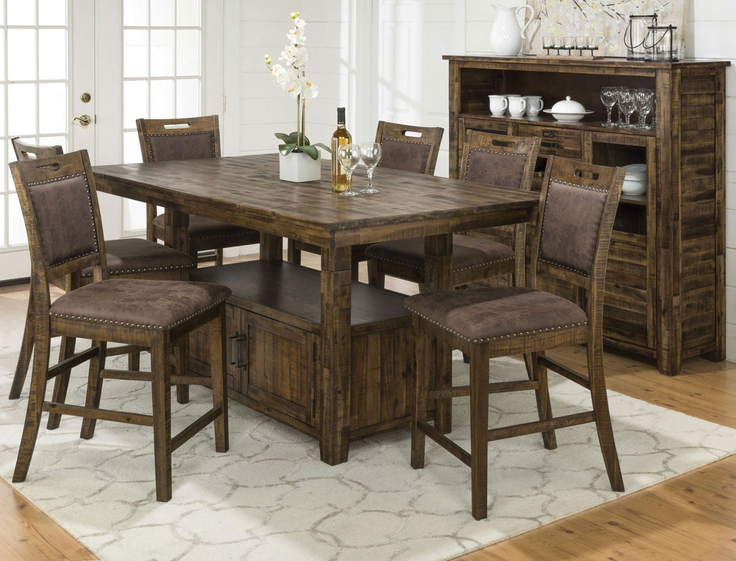 Reign Adjustable-Height Table and 4 Counter-Height Chairs