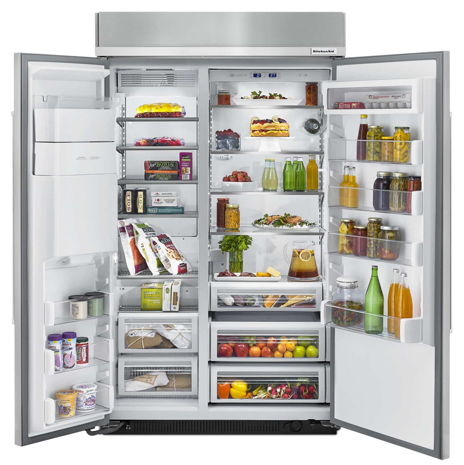 kitchenaid 29 5 cu ft built in side by side refrigerator