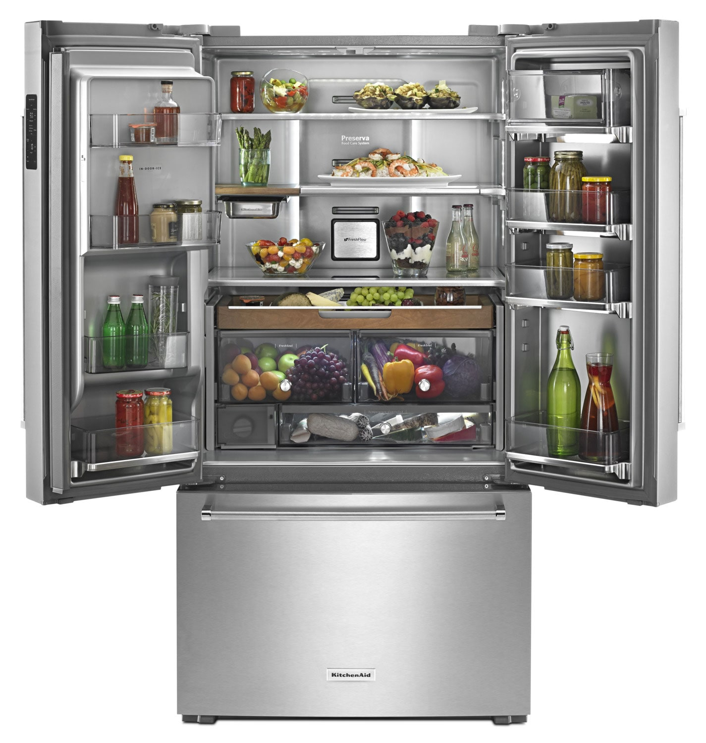 Kitchenaid 23 8 cu ft french door refrigerator for Kitchenaid refrigerators