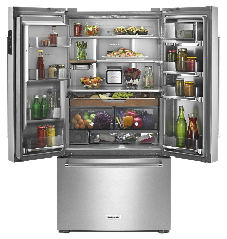 Kitchenaid 23 8 cu ft french door refrigerator krfc704fss the brick for Platinum interior refrigerator