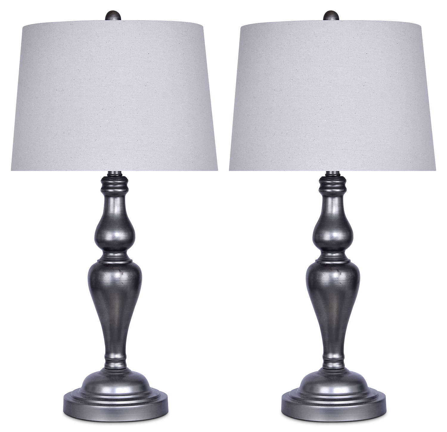 Home Accessories - Vintage Metal 2-Piece Table Lamp Set