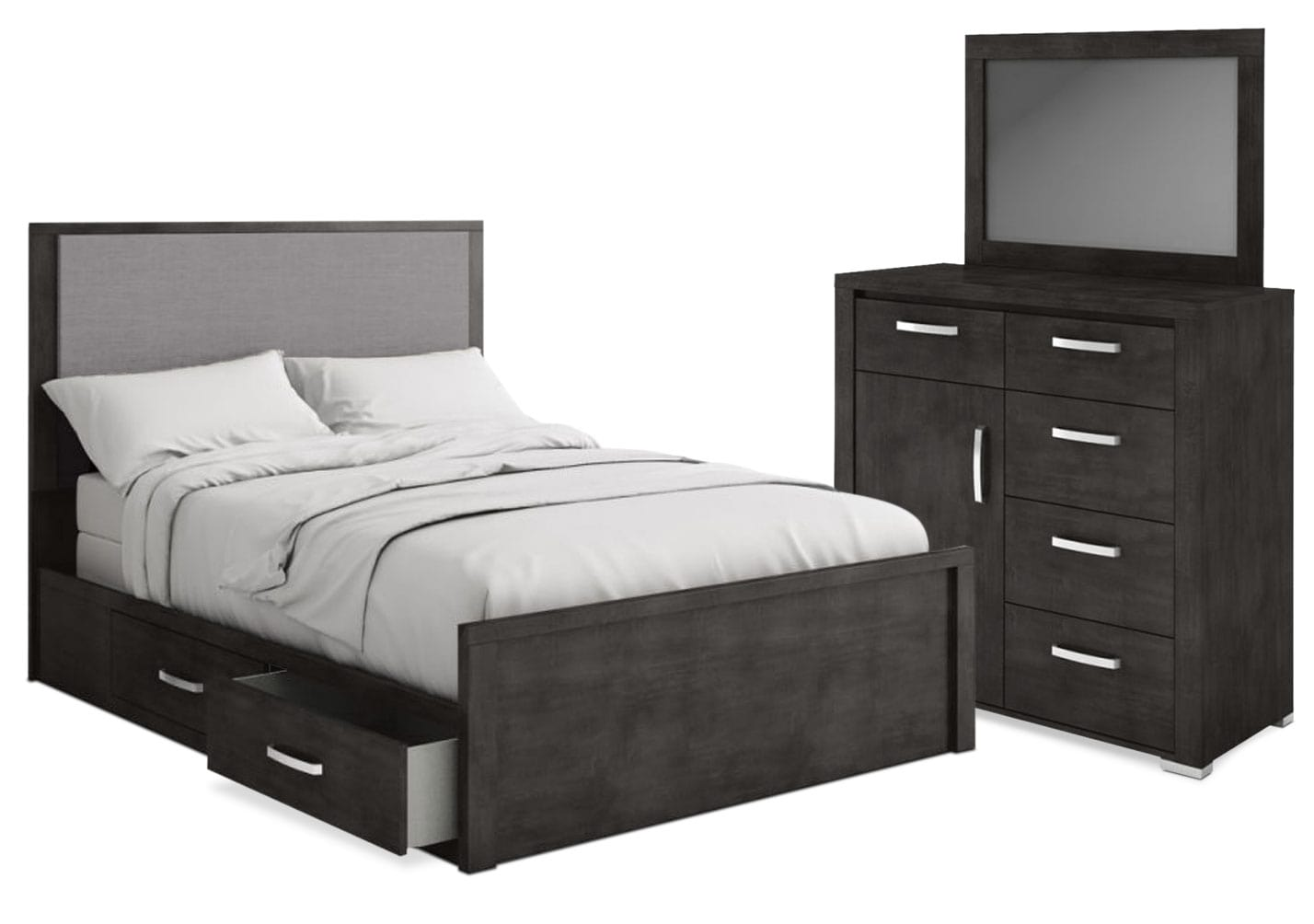 Bedroom Furniture - Monaco 5-Piece King Storage Bedroom Package – Anthracite Grey