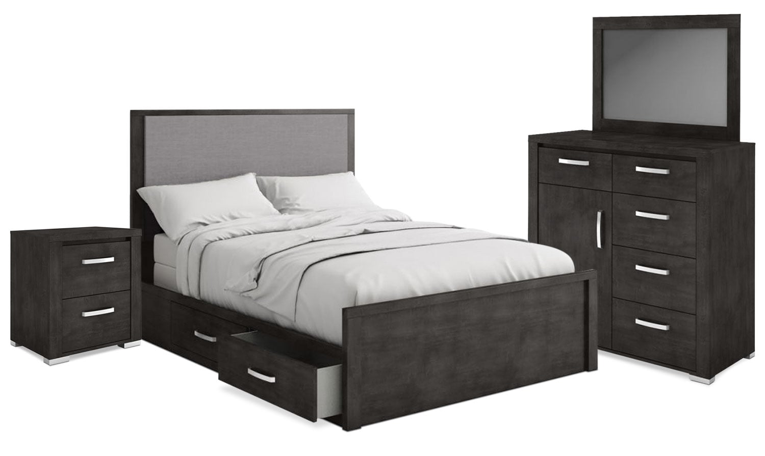 Bedroom Furniture - Monaco 6-Piece King Storage Bedroom Package – Anthracite Grey