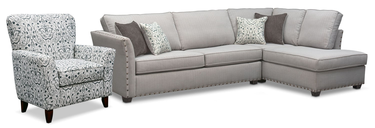 Mckenna 2 Piece Sectional Pewter American Signature
