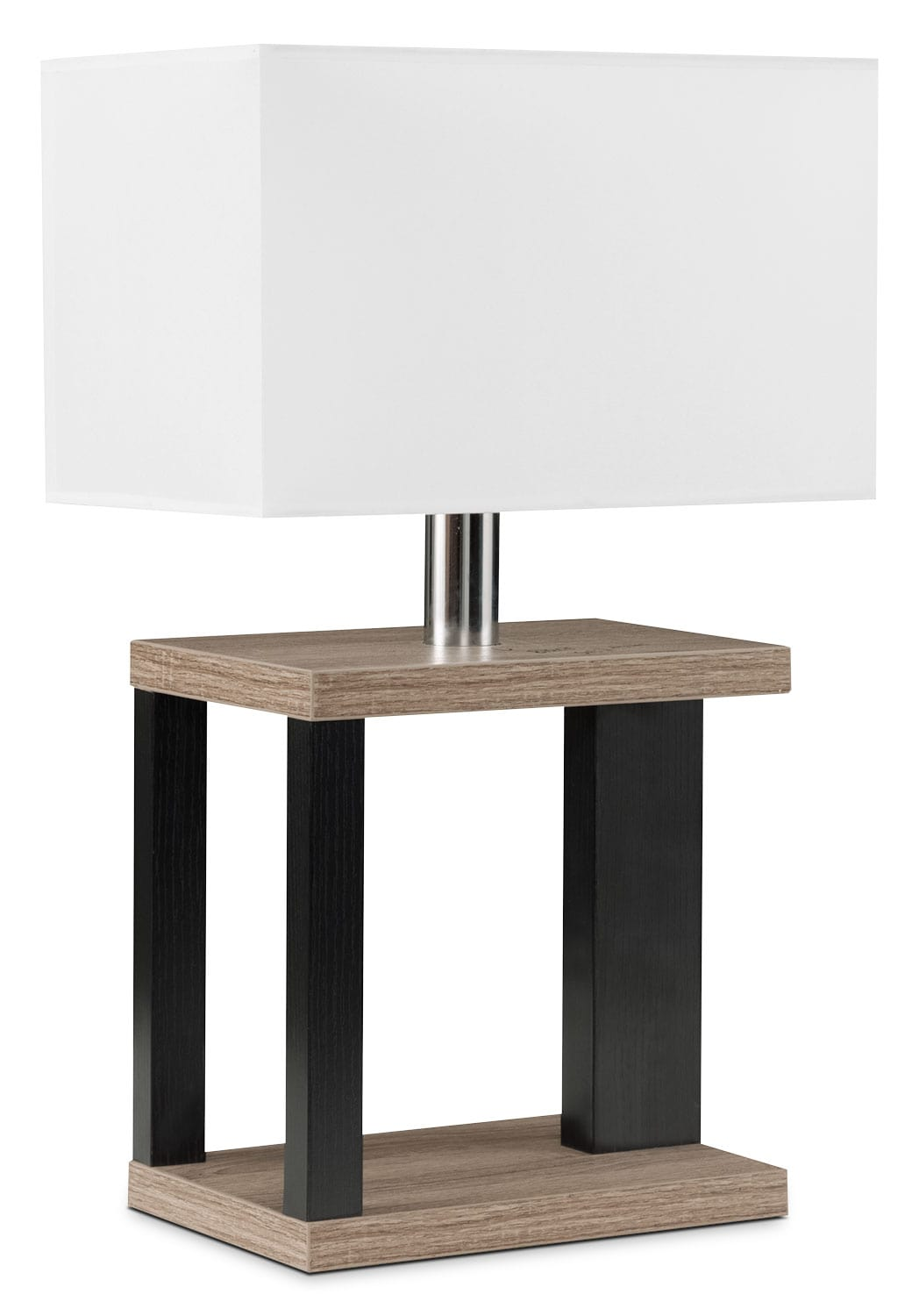 Dark Taupe Table Lamp with Black Accents and White Shade