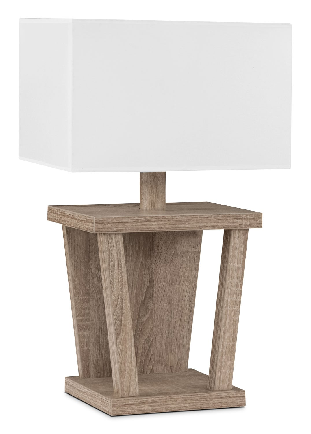 Dark Taupe Table Lamp with White Shade