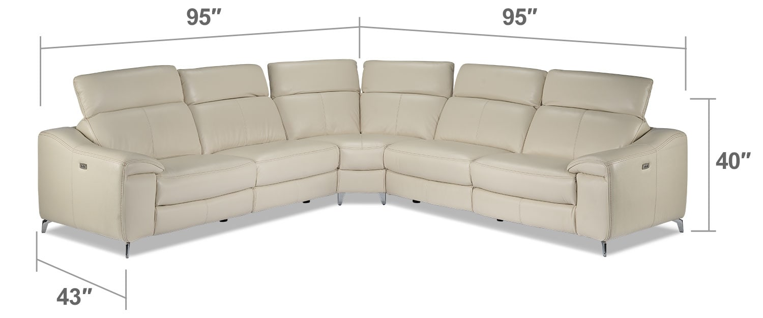 Living Room Furniture - Tanner 3-Piece Power Reclining Sectional - Bisque
