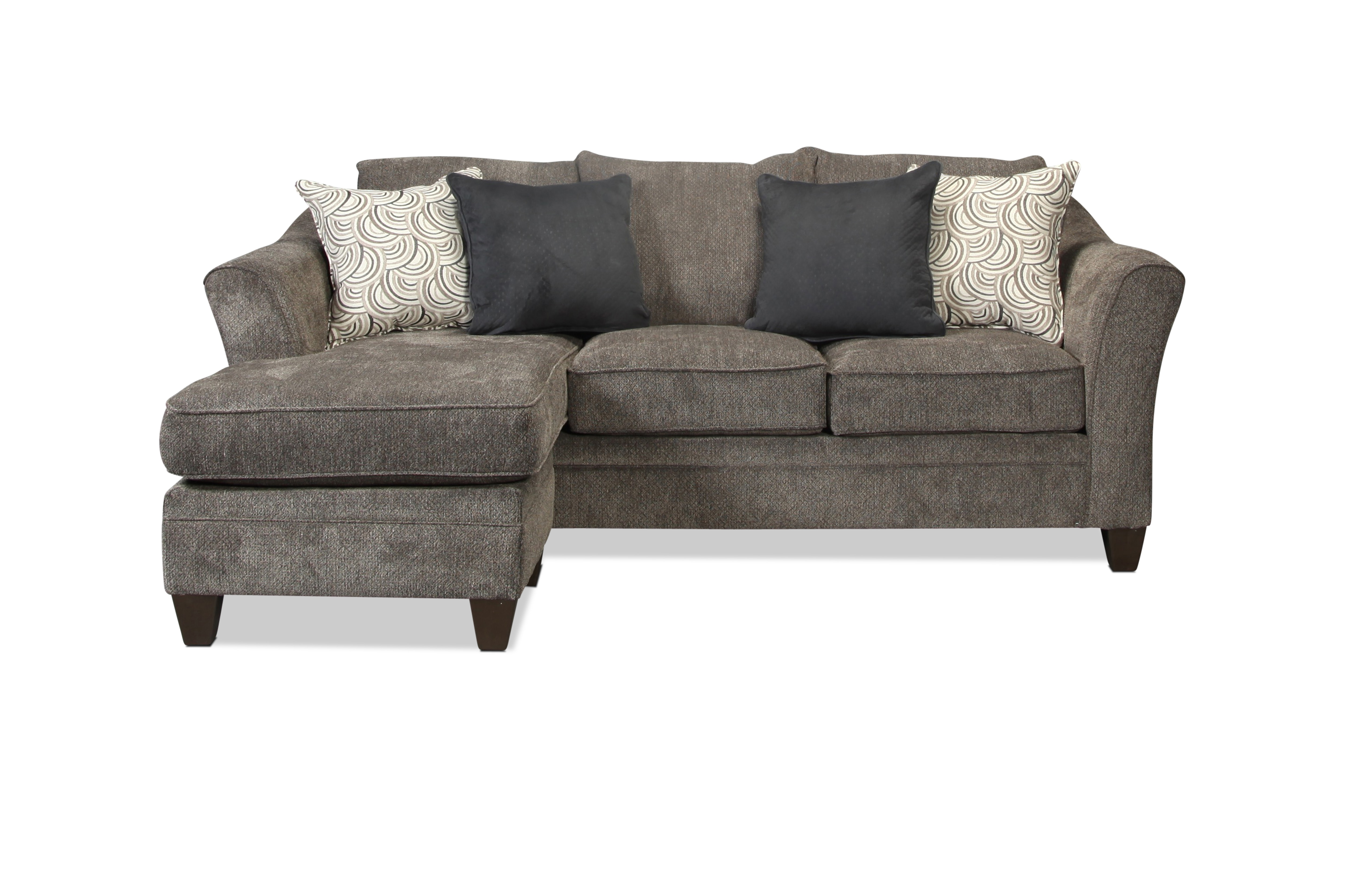 Desmond sofa chaise pewter levin furniture for Apartment sofa chaise
