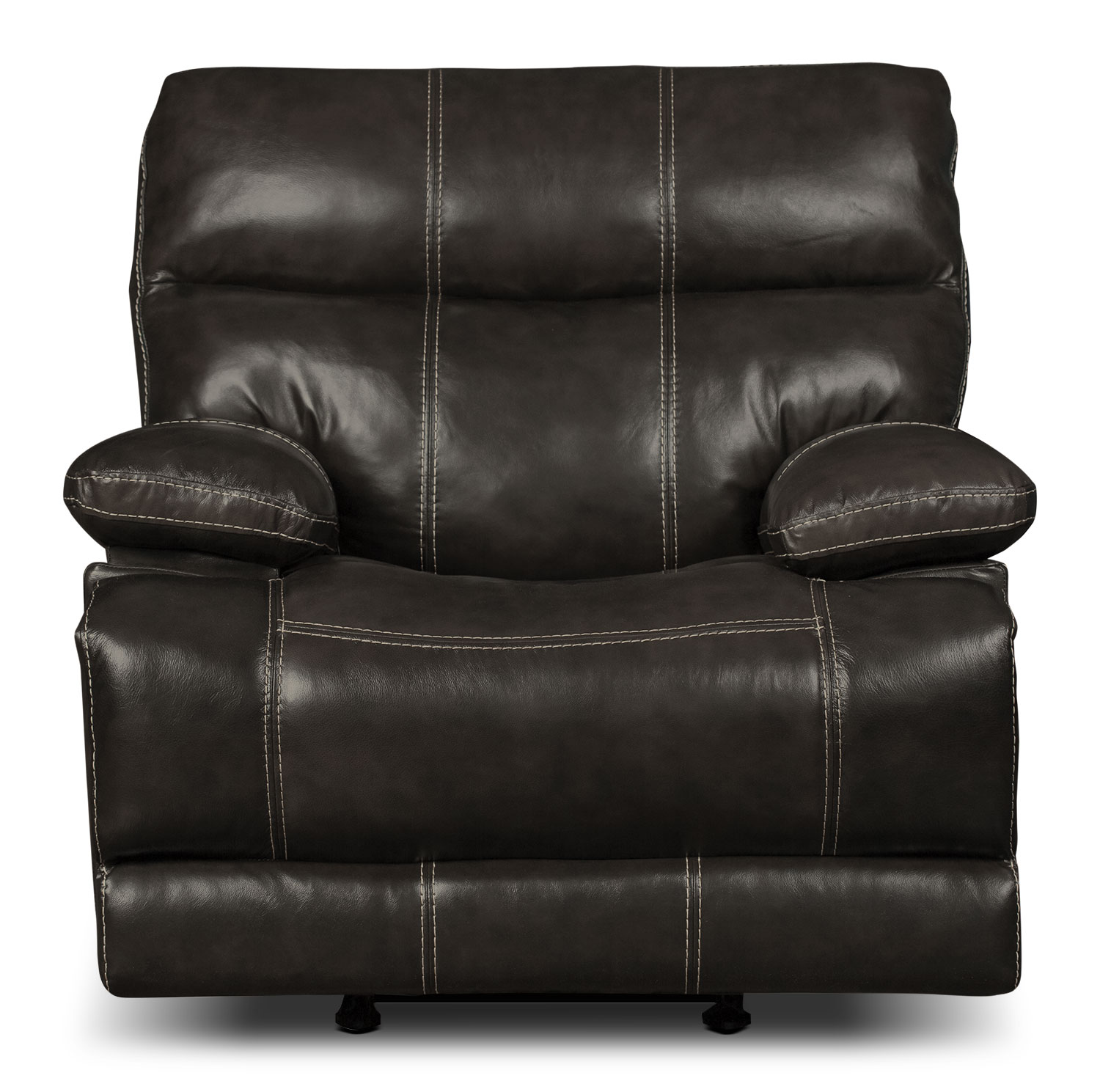 Living Room Furniture - Gavin Genuine Leather Power Reclining Chair – Grey