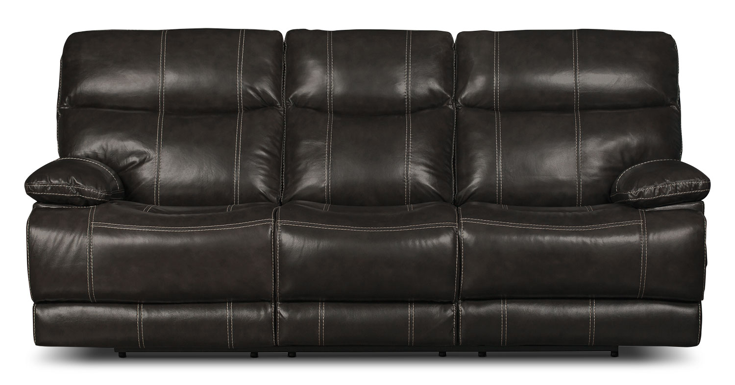 Gavin Genuine Leather Power Reclining Sofa – Grey