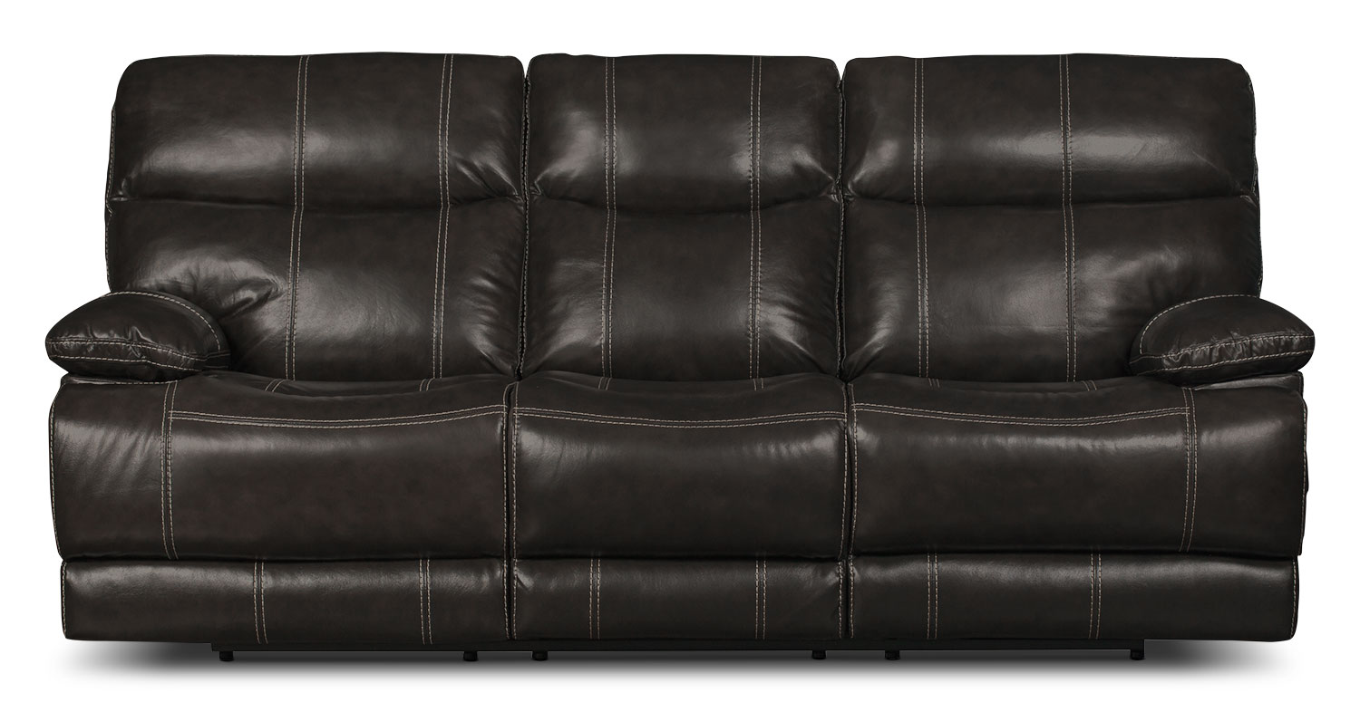 Gavin Genuine Leather Reclining Sofa – Grey