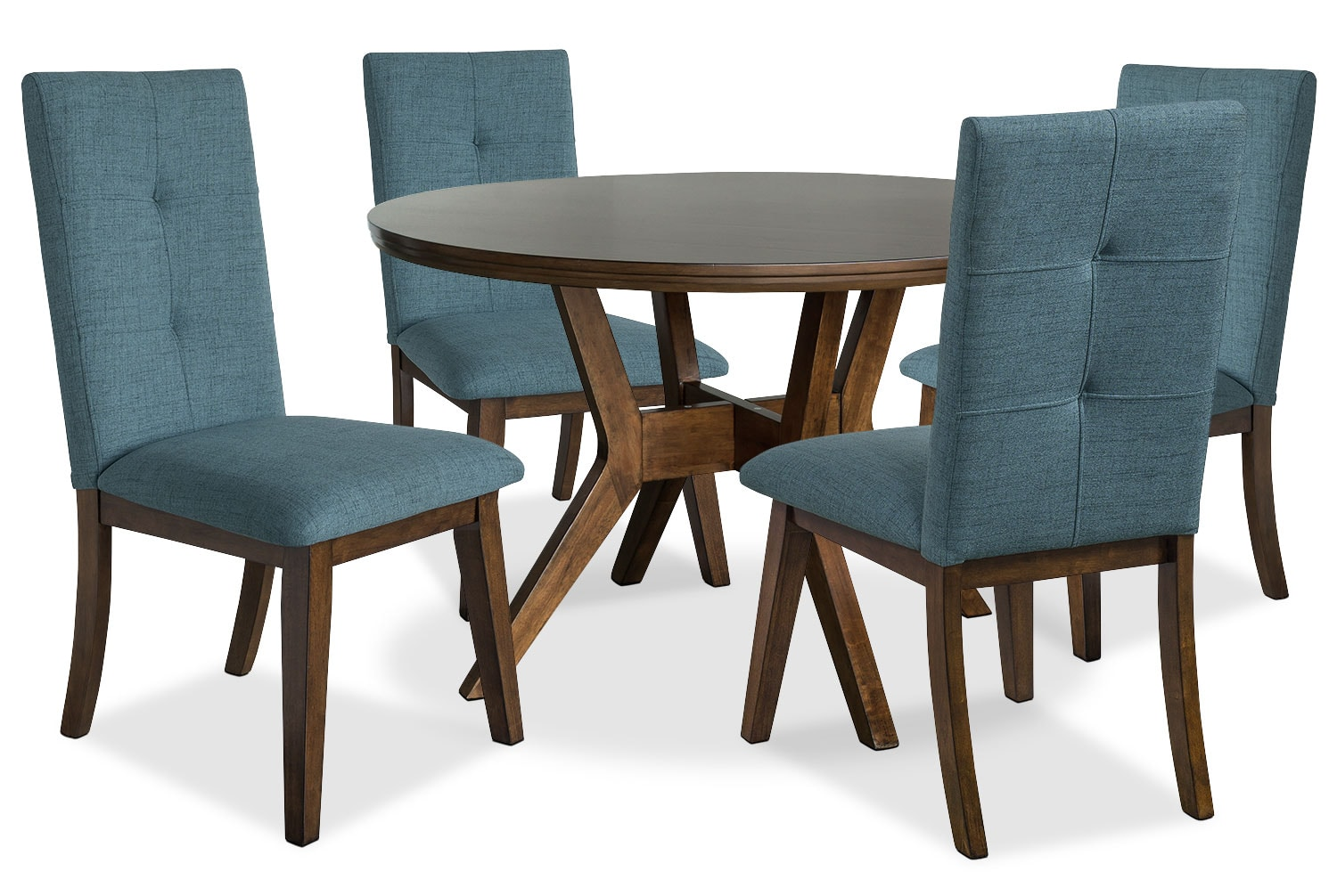 Chelsea 5 piece round dining table package with aqua for Dining room tables the brick