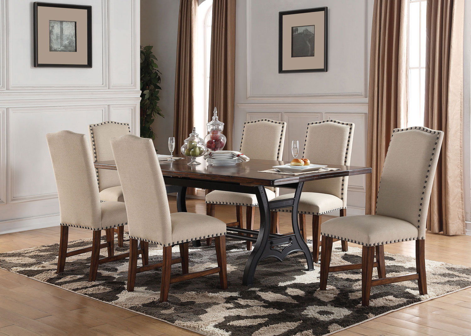 Nora Table And 4 Upholstered Side Chairs Levin Furniture