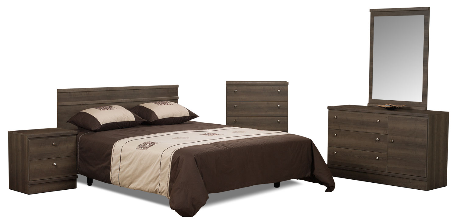 Bedroom Furniture - Loft 5-Piece Queen Bedroom Package – Grey-Brown