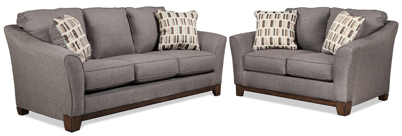 Living Room Furniture - Ceylon Sofa and Loveseat Set - Slate
