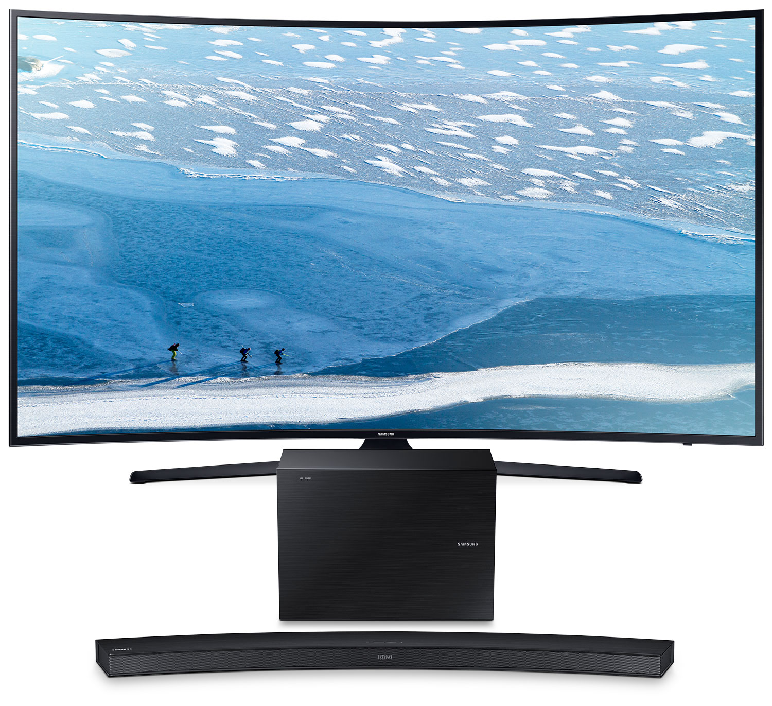 """Samsung 55"""" KU6490 Curved UHD Television with 2.1 Channel Soundbar and Subwoofer"""