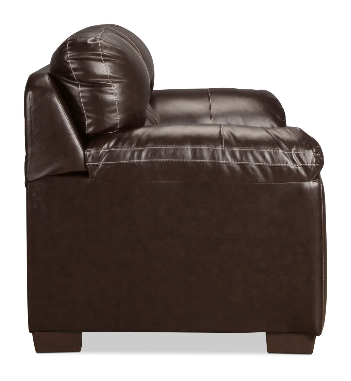 Rigley loveseat chocolate levin furniture for Living room furniture 0 finance
