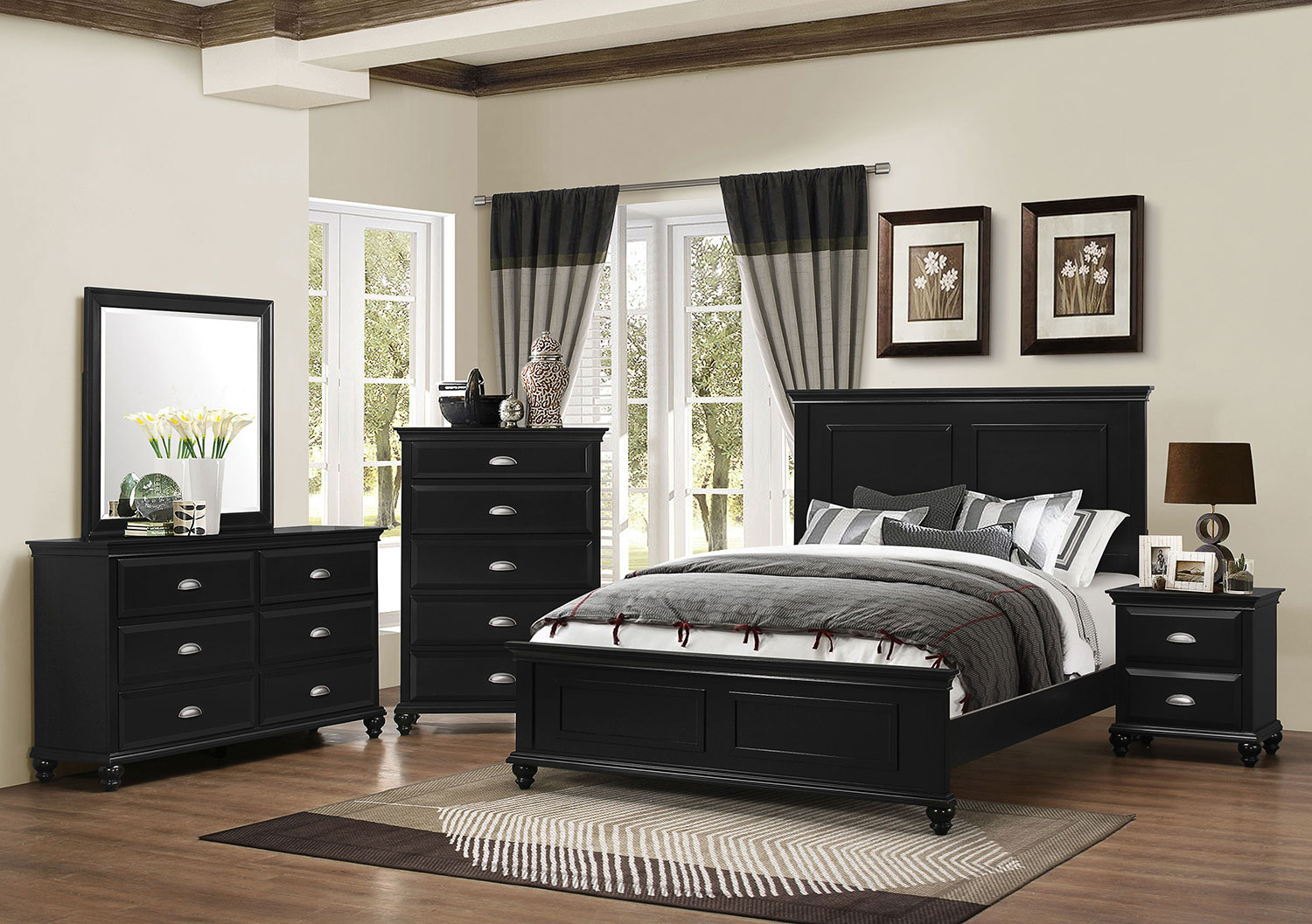 Bedroom Furniture - Meadow Grove 4-Piece King Bedroom Set with Dresser, Mirror and Chest - Black
