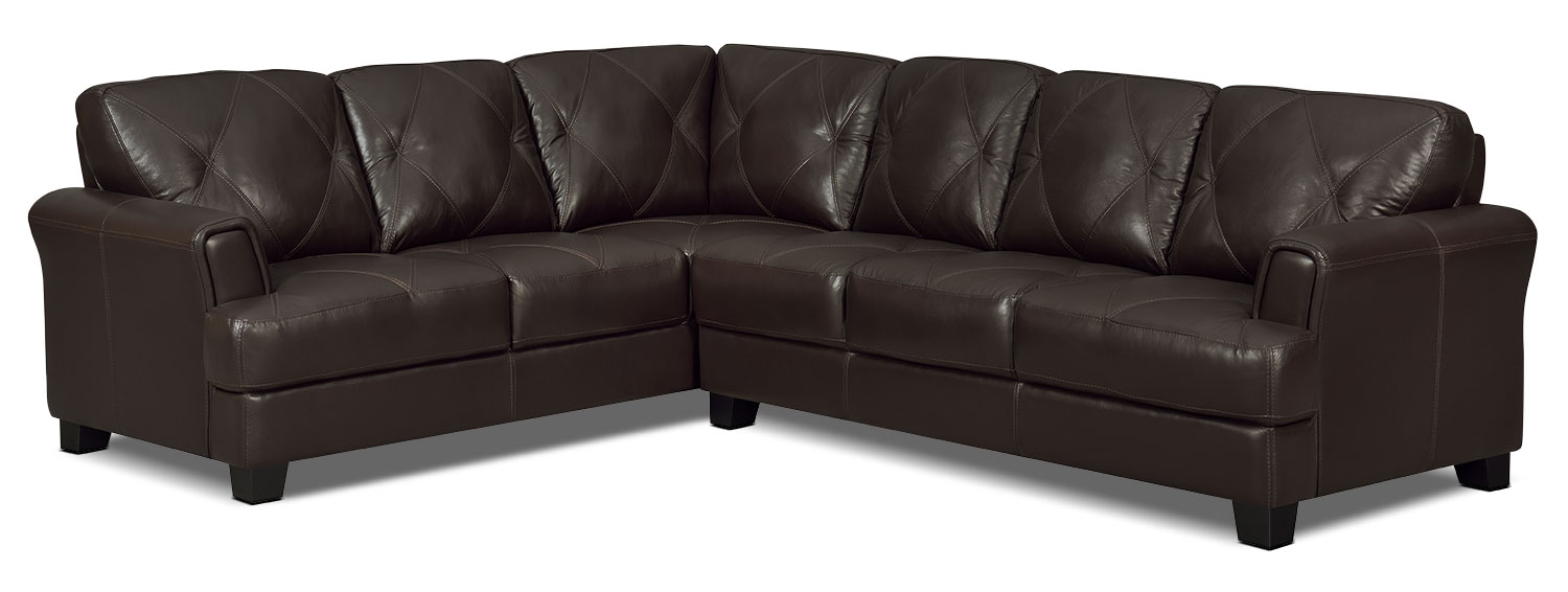 Vita 2-Piece 100% Genuine Leather Left-Facing Sectional – Chocolate