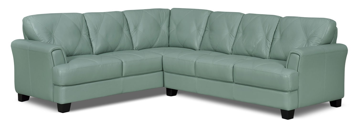 Living Room Furniture - Vita 2-Piece 100% Genuine Leather Left-Facing Sectional – Sea Foam