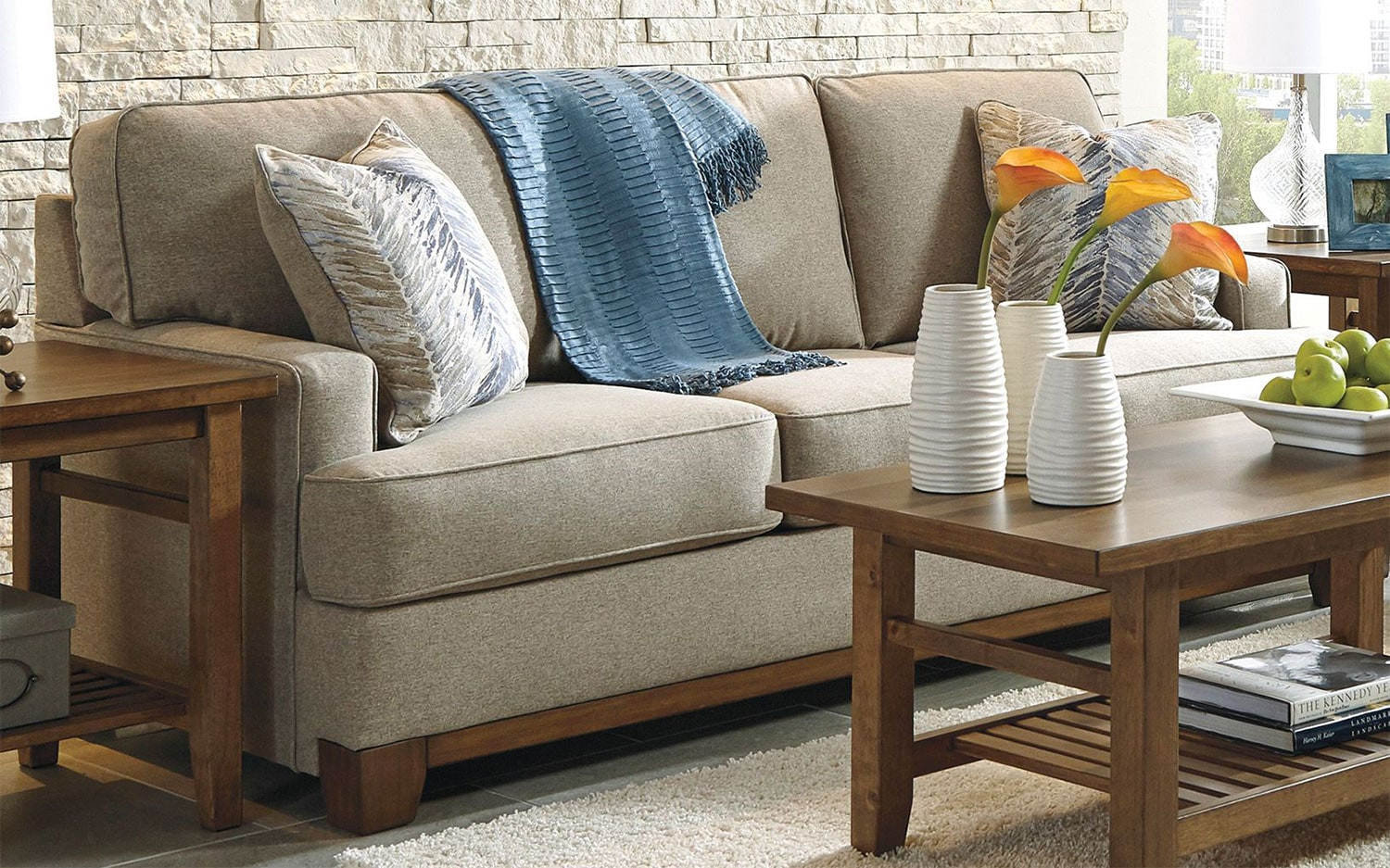 Eisley sofa pebble levin furniture for Levin furniture living room chairs