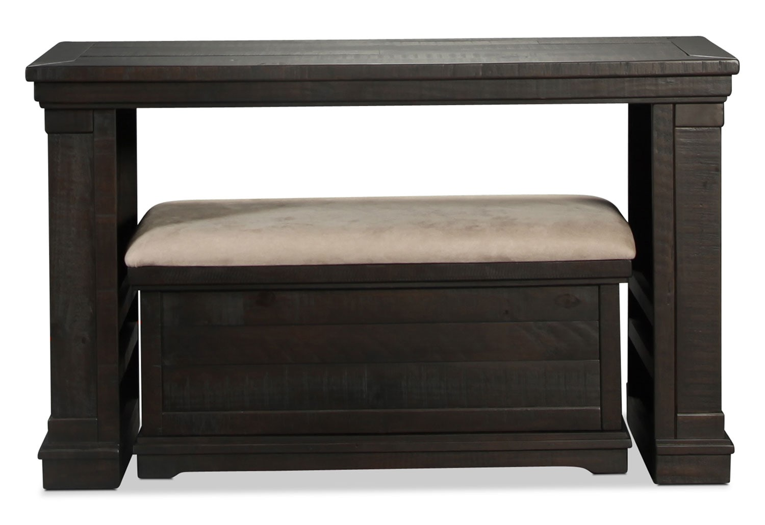 Adrian Sofa Table with Bench Ottoman - Dark Charcoal