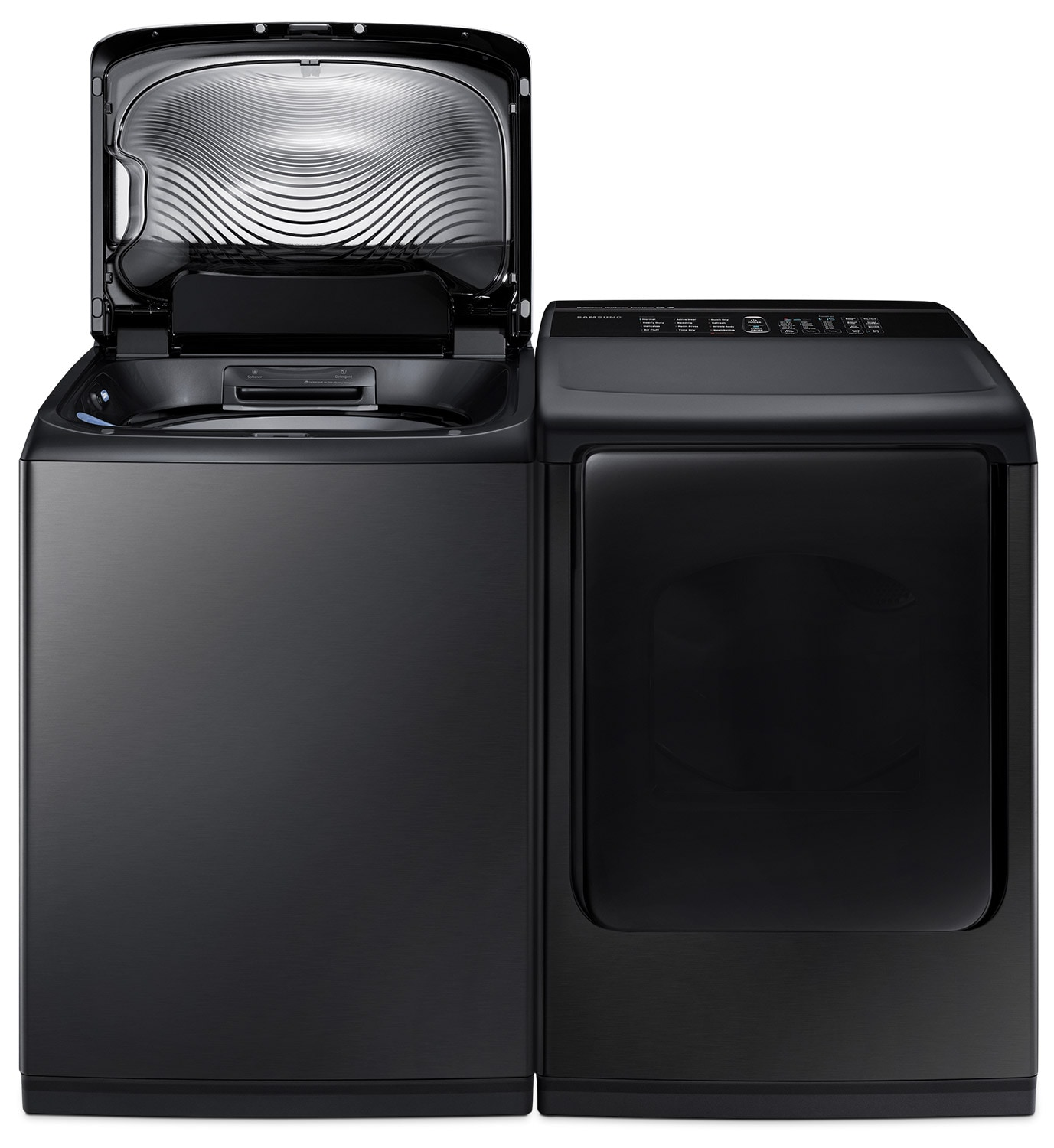 Samsung 5.8 Cu. Ft Top-Load Washer and 7.4 Cu. Ft. Electric Dryer – Black Stainless Steel