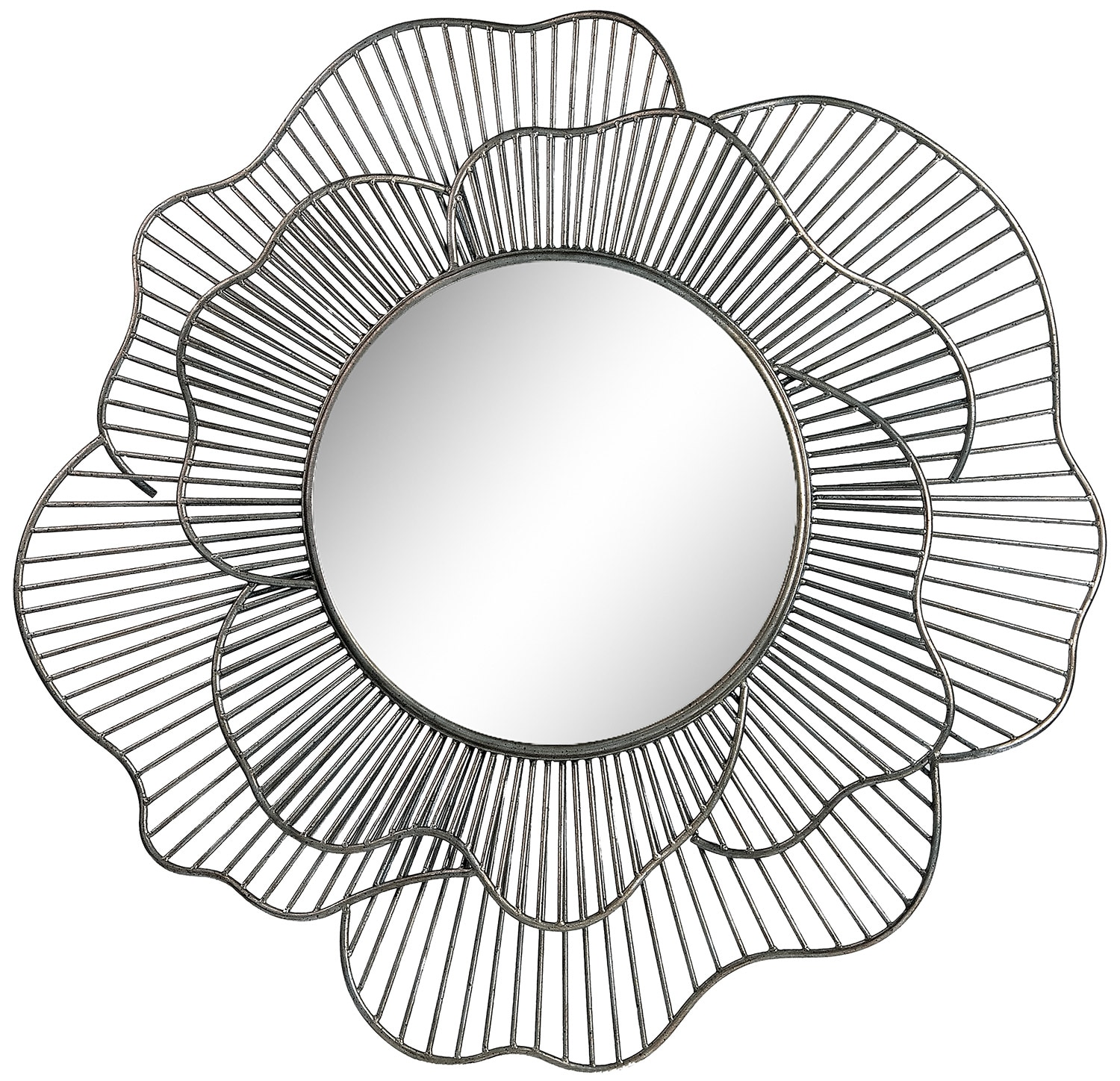 "Accent and Occasional Furniture - Lotus 35"" Round Mirror - Metal"