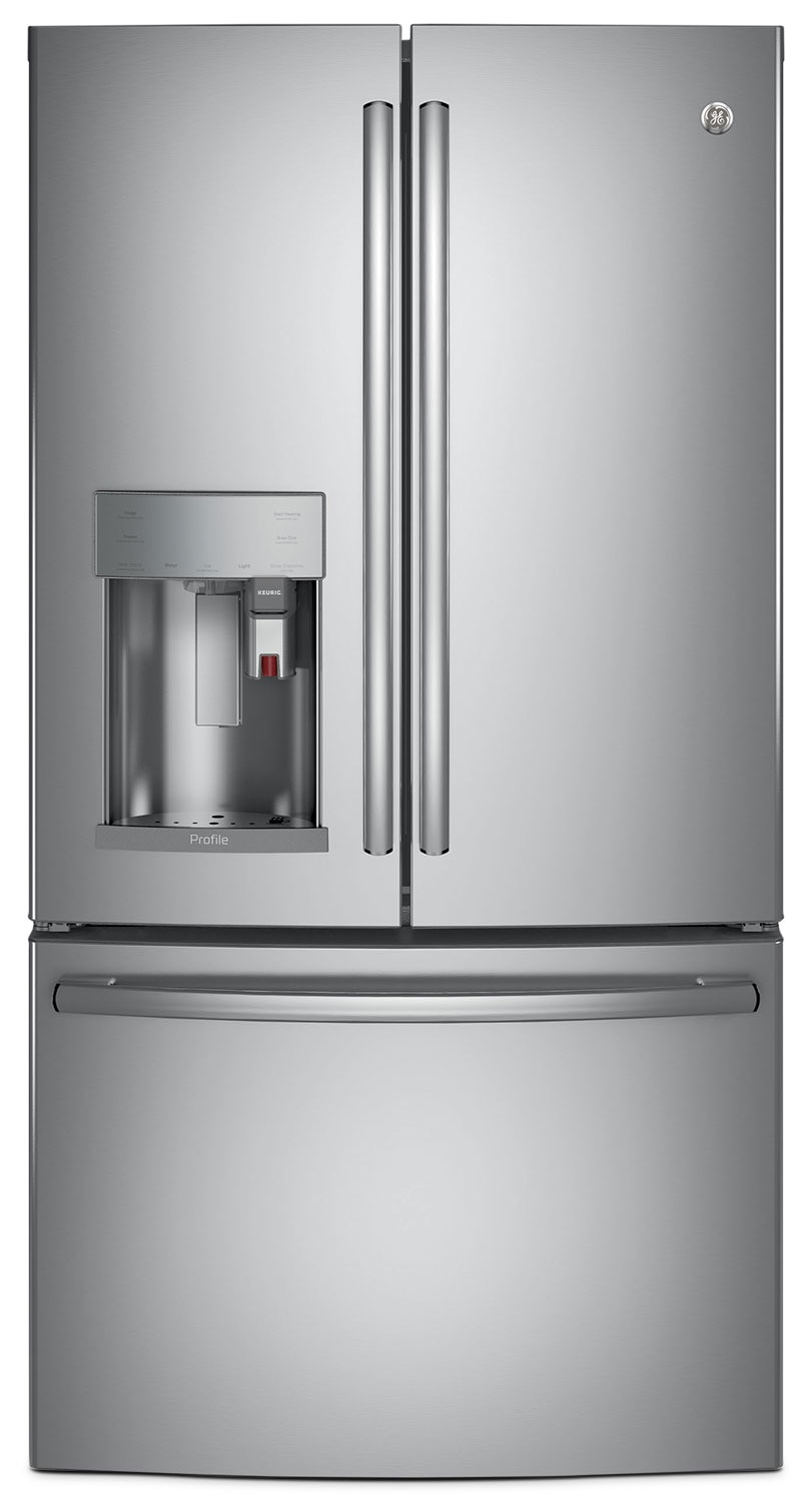 GE 22.1 Cu. Ft. French-Door Refrigerator with Keurig® Brewing System – PYE22PSKSS