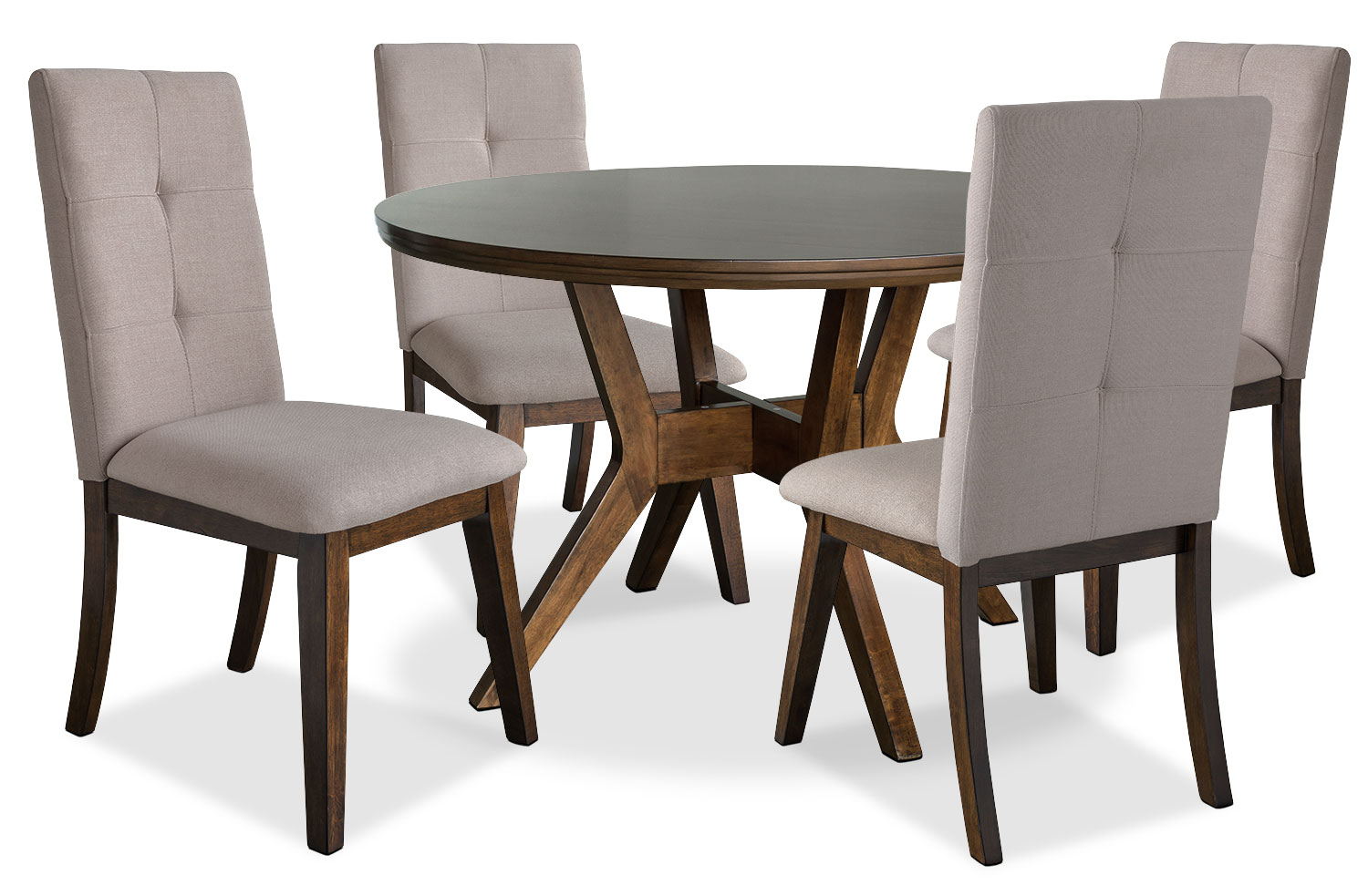 Dining Room Furniture - Chelsea 5-Piece Round Dining Table Package with Beige Chairs