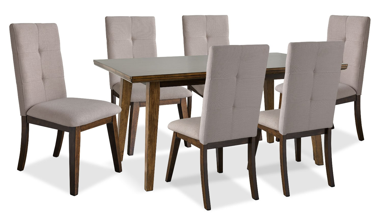 Chelsea 7-Piece Dining Table Package with Beige Chairs