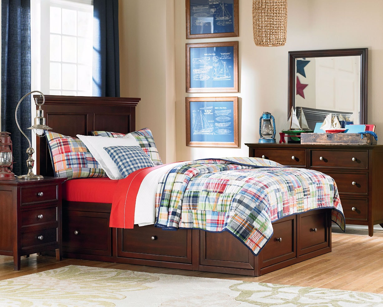 Kids Furniture - Ellsworth 4-Piece Full Bedroom with 4 Underbed Drawers - Mahogany
