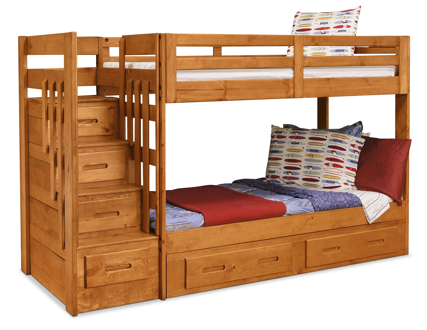 Kids Furniture - Ponderosa Staircase Bunk Bed