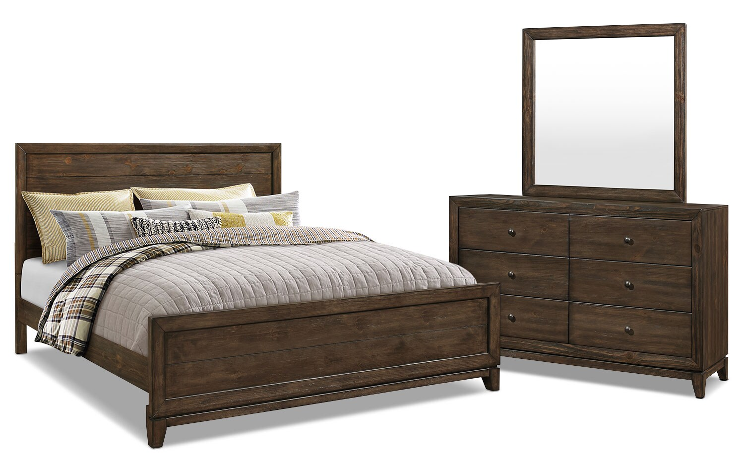 Tacoma 5 piece king bedroom package the brick for Bedroom furniture package deals