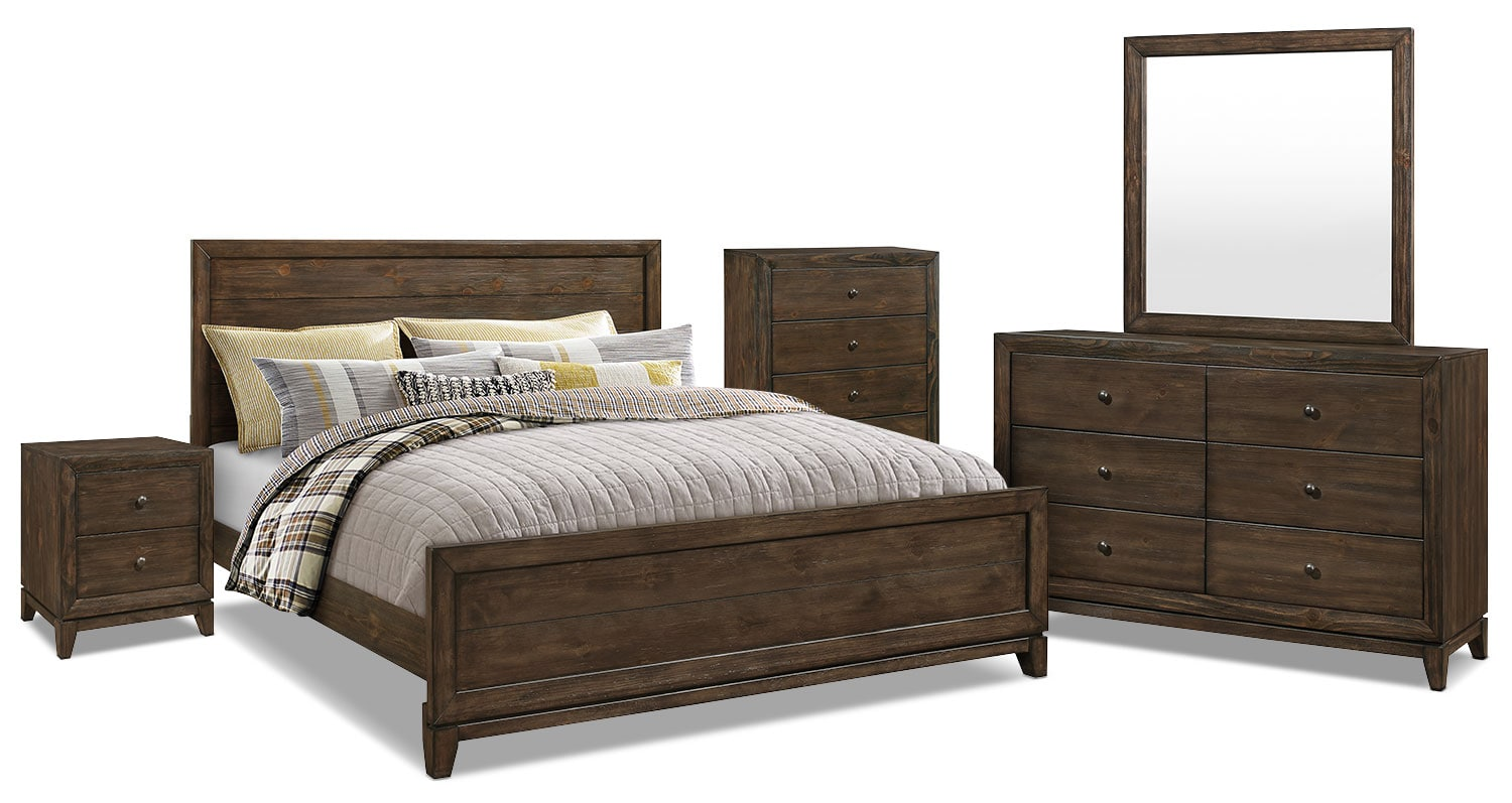 Tacoma 7 piece king bedroom package the brick for Bedroom furniture packages