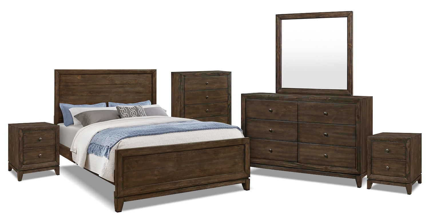 Tacoma 8 piece queen bedroom package the brick for Furniture in tacoma