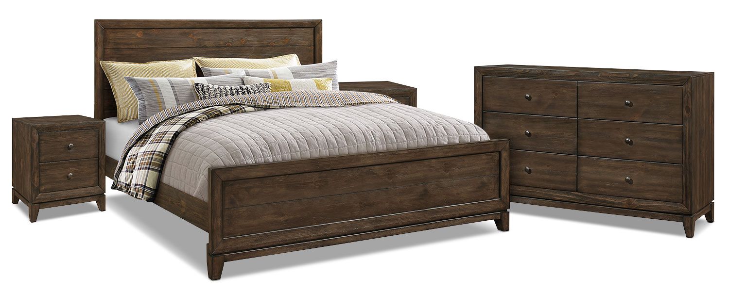 Bedroom Furniture - Tacoma 6-Piece King Bedroom Package with 2 Nightstands