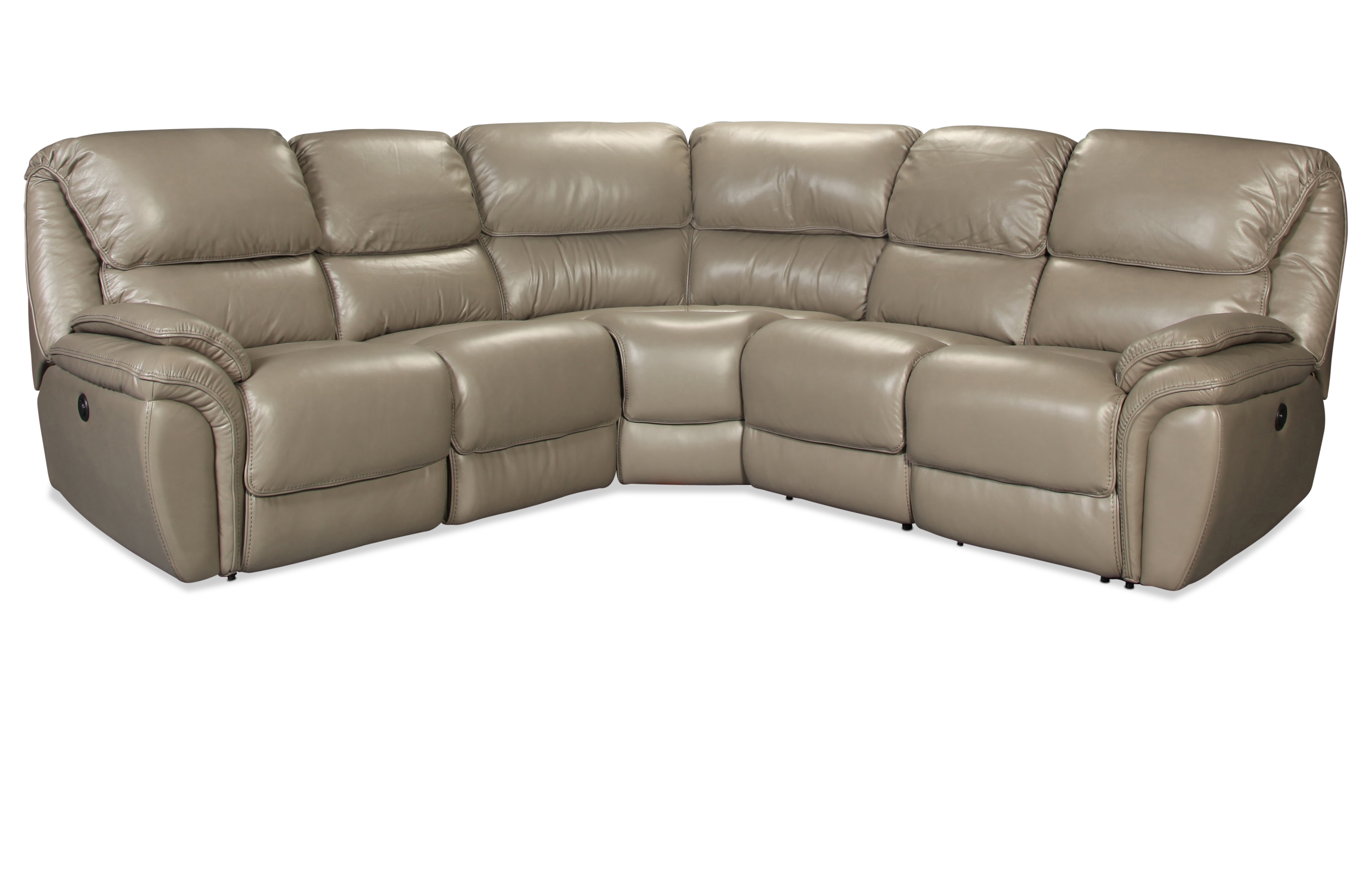 Living Room Furniture - Waterbury 5-Piece Power Reclining Sectional - Gray